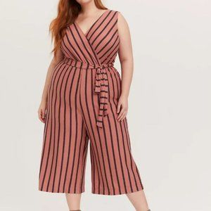 Torrid cropped striped jumpsuit overall, 1X